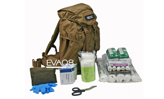 Mobile Response First Aid Medical Kit in Tan Backpack | medical bag info - first responder advanced medical bags from EVAQ8.co.uk the UK's Emergency Preparedness specialist